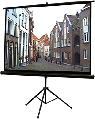 Oud straatje in Deventer op projectiescherm